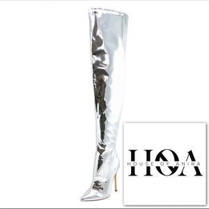 "HOA Silver ""Metallic Over the Knee Boot"""